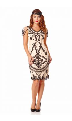 Florence Flapper Dress in Nude Black ...
