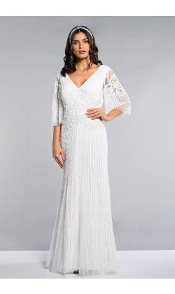 047744edfb4 Norma Maxi three-quarter length Sleeve Wedding Dress in White 1 ...