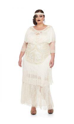 2d61e8709c914d Glam Fringe Flapper Maxi Dress in Cream 1 ...