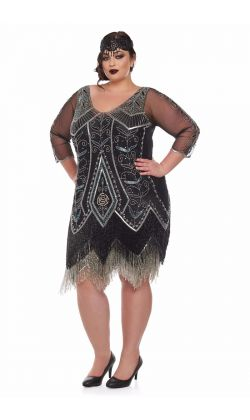 578d67a40916c Scarlet Fringe Flapper Dress in Black Silver ...