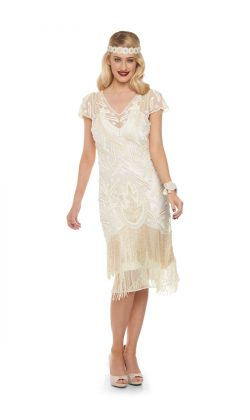 Vegas Fringe Dress In Cream