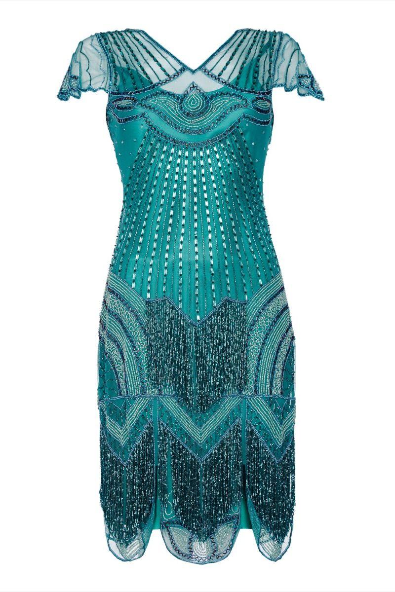 teal gatsby flapper dress