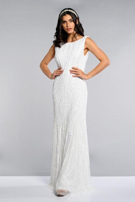 113c24fe1a6 Catherine Wedding Dress with Cowl Back Neck in White | Gatsbylady London