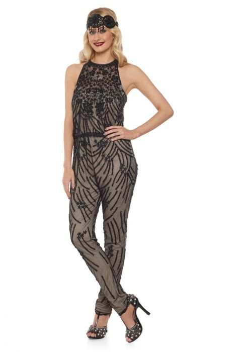 ff82624562a Cora 1920 s Vintage Inspired Jumpsuit in Nude Black