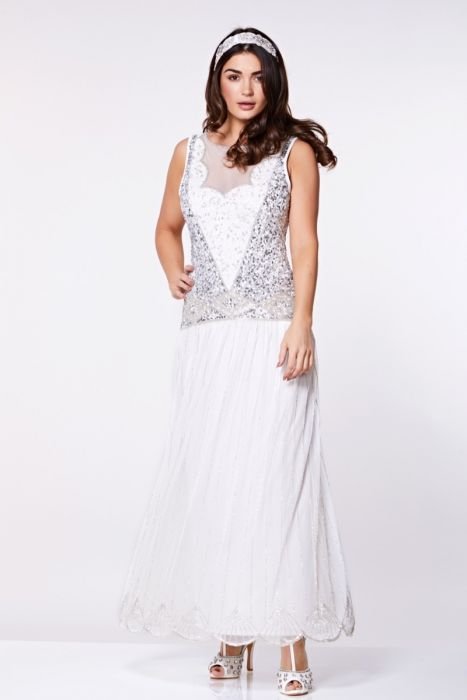 Elaina Drop Waist Flapper Maxi Dress In Off White Plus Size