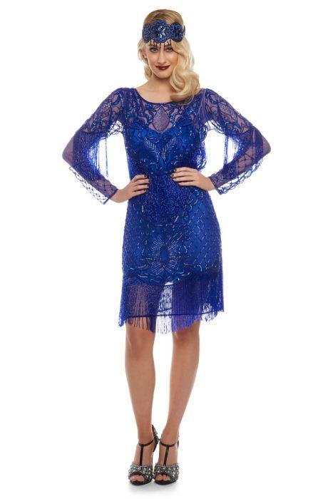 0f2640d884b6a Frida Fringe Flapper Dress with Sleeves in Royal Blue | Gatsbylady ...