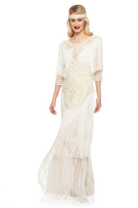 Glam Fringe Flapper Maxi Dress in Cream  65f8f506c