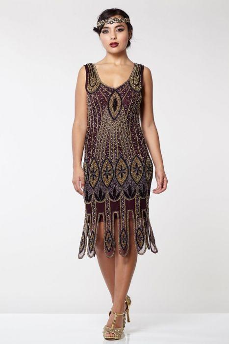 Molly Vintage Inspired Fler Dress In Plum 1