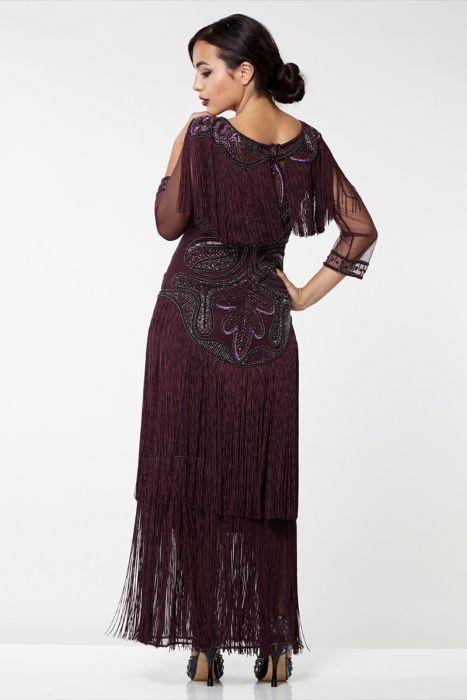 c43551811a151a Glam Fringe Flapper Maxi Dress in Plum 2