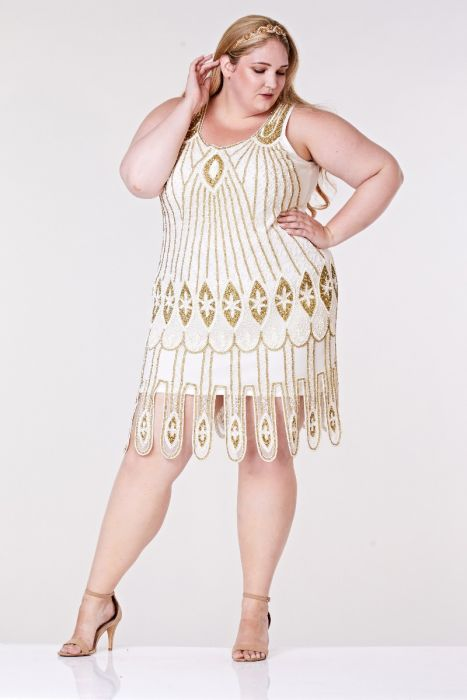 Molly Flapper Dress in White Gold Plus Size