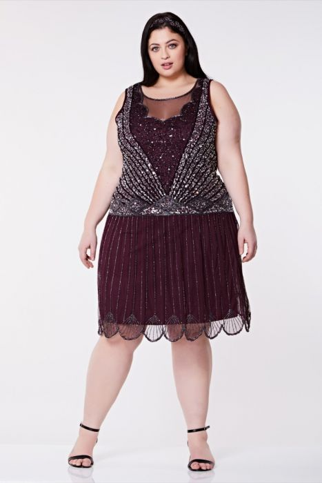 Elaina Drop Waist Flapper Dress In Plum Plus Size Gatsbylady London