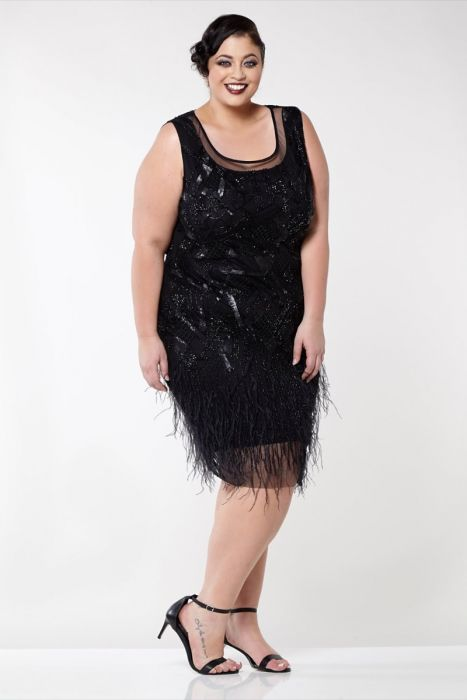 Marilyn Feather Dress in Black Plus Size