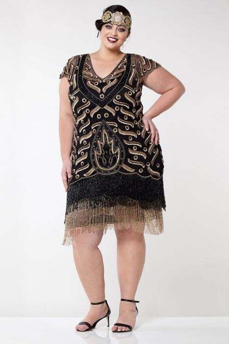 Vegas Fringe Dress In Black Gold Plus Size
