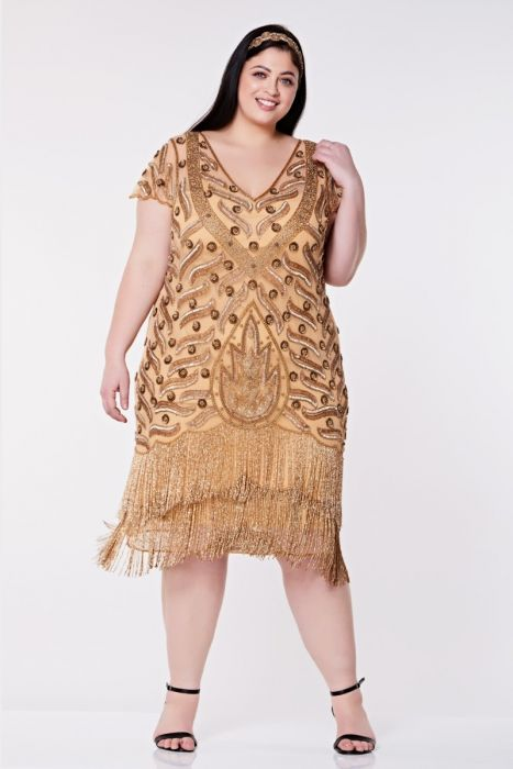 Vegas Fringe Flapper Dress In Gold Plus Size Gatsbylady London