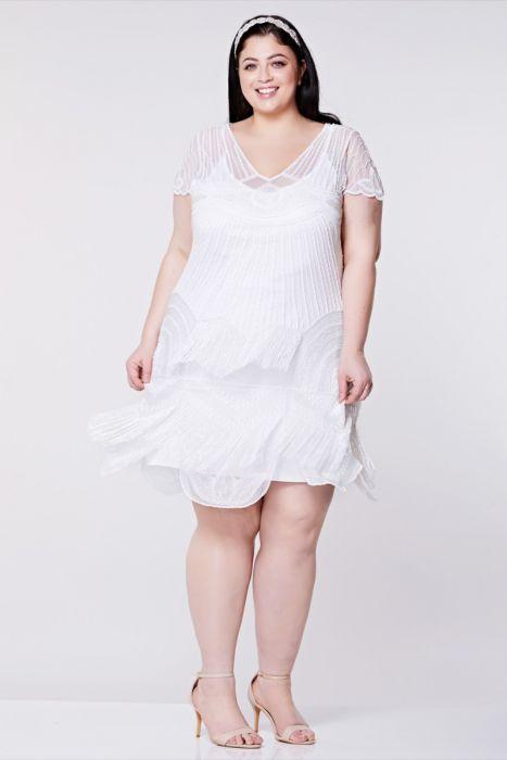 Beatrice Fringe Flapper Dress in White Plus Size | Gatsbylady London