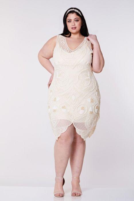 f150fd001e1 Emma Flapper Dress in Cream Plus Size