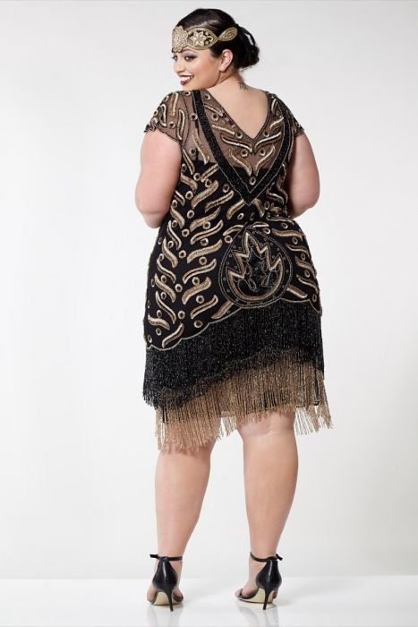 a55f1eabba0 Vegas Fringe Dress in Black Gold Plus Size