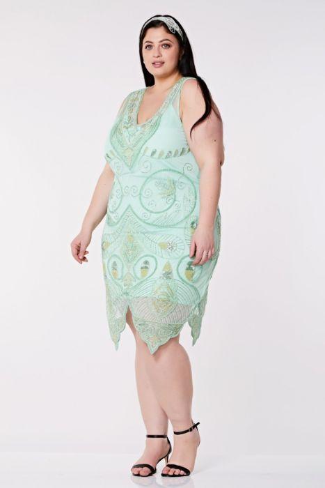 Emma Flapper Dress in Mint Plus Size | Gatsbylady London