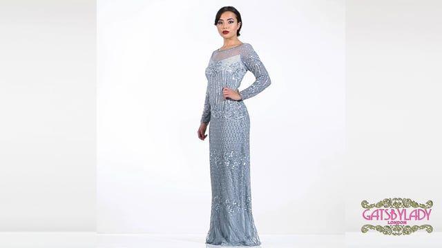 Dolores Vintage Inspired Maxi Prom Dress in Vintage Blue ...