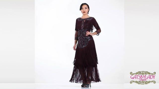 bbaf6d8f3d9073 Glam Fringe Flapper Maxi Dress in Plum Plus Size
