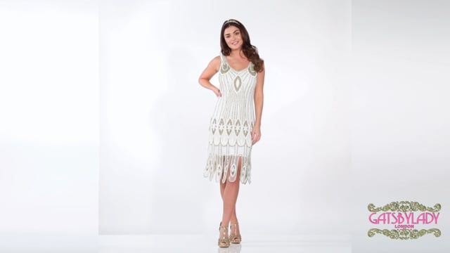 Molly Flapper Dress in White Gold Plus Size  21bc1ecc3