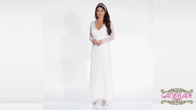 9d4f38203e40 Polly Maxi Long Sleeved Wedding Dress in White | Gatsbylady London