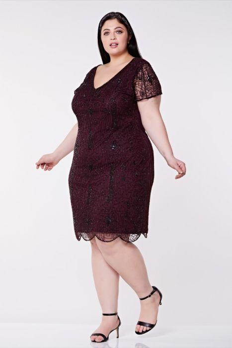 Downton Abbey Flapper Dress In Plum Plus Size Gatsbylady London