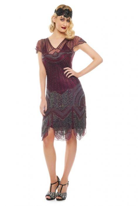 Beatrice Fringe Fler Dress In Purple Plum