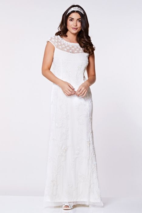 Elizabeth Vintage Inspired Maxi Prom Wedding Dress in Off-White ...