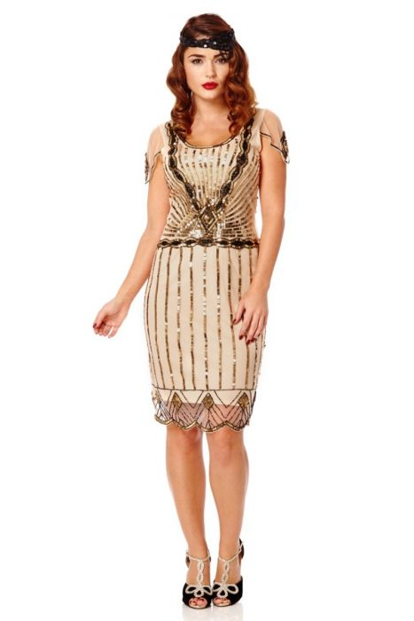 1226386dfd2 Eva Vintage Inspired Flapper Dress in Blush