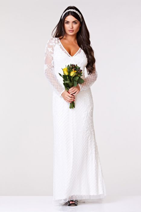 Long Sleeved Wedding Dresses.Polly Maxi Long Sleeved Wedding Dress In White