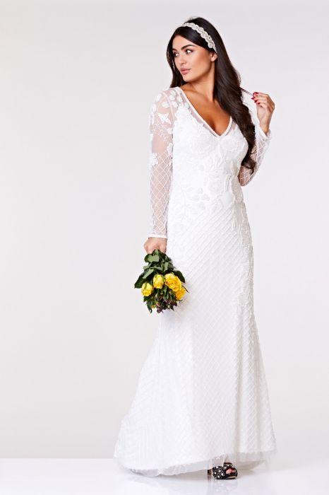 9d4f38203e40 Polly Maxi Long Sleeved Wedding Dress in White | Gatsbylady London