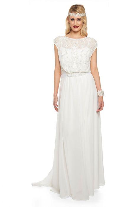 Gatsbylady Roselyn Vintage Inspired Prom Maxi Wedding Dress in Off ...