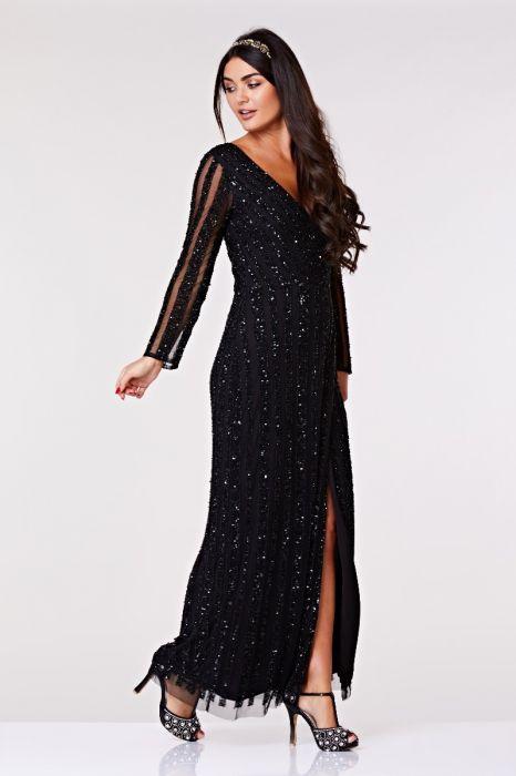 263aa7baa4 Rosie Full Sleeve Maxi Dress in Black | Gatsbylady London