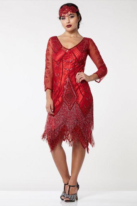 5db36e8fcd Scarlet Fringe Flapper Dress in Red