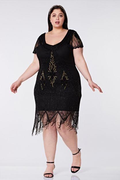 Annette Fringe Flapper Dress in Black Gold Plus Size