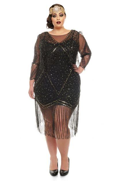 Betty Fringe Dress in Black Plus Size