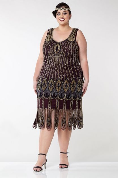 Molly Flapper Dress in Plum Plus Size