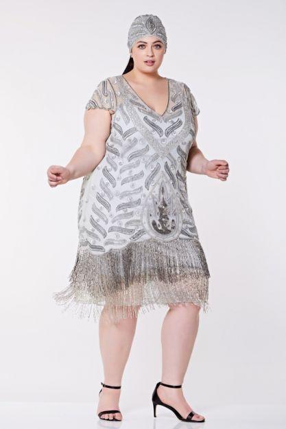 Vegas Fringe Flapper Dress in Grey Silver Plus Size