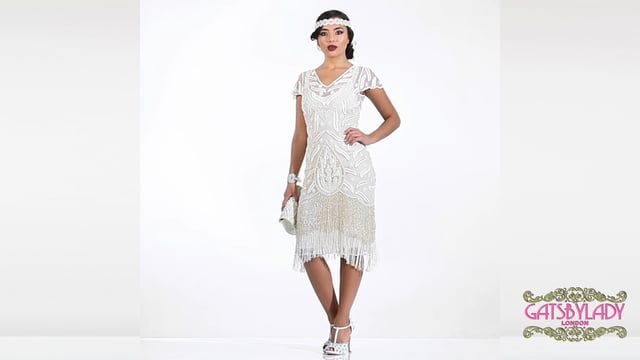 Vegas Fringe Flapper Dress in Cream Plus Size
