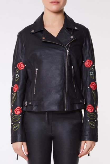 save up to 60% order online hot-selling authentic Elvira Genuine Handcrafted Leather Jacket Embroidered with Roses